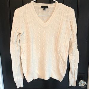 Classic White J Crew Cable Wool Sweater Size XS